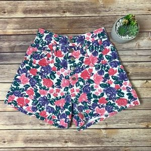 Vintage Floral High Waisted Jean Shorts Button Fly
